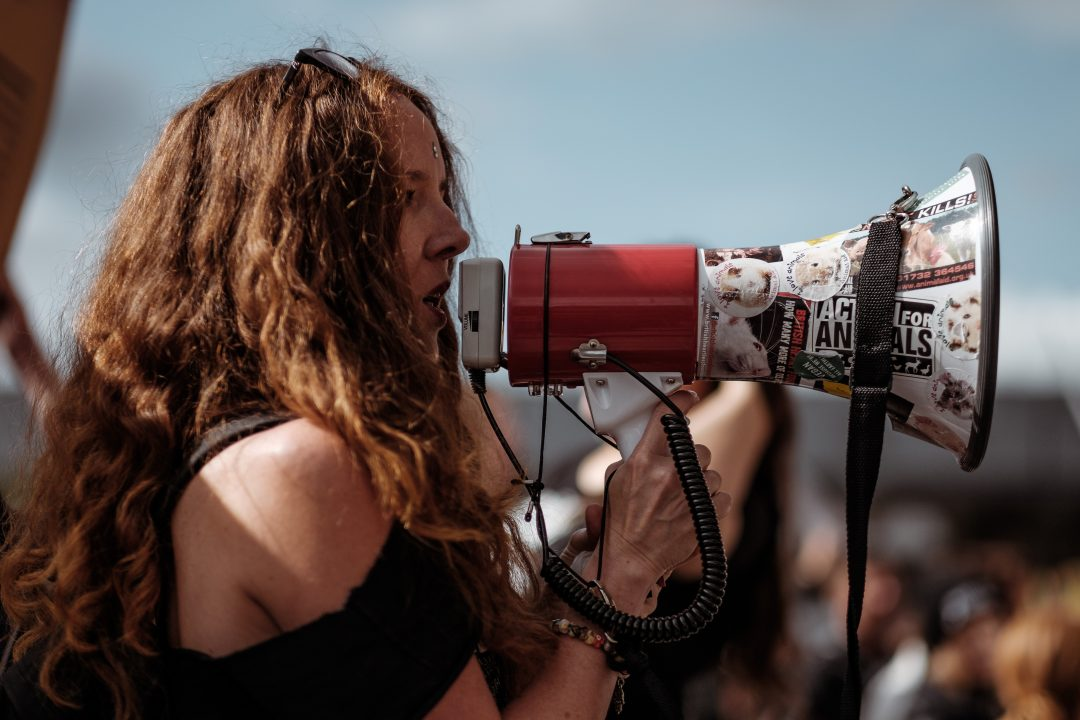 woman with a bullhorn